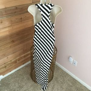 Dresses & Skirts - Black and White striped high low maxi dress